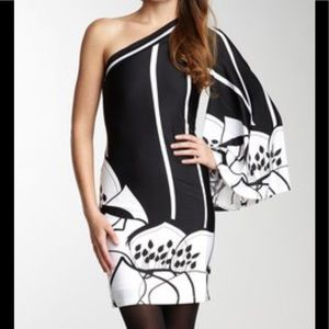One shoulder black and white Analili dress.
